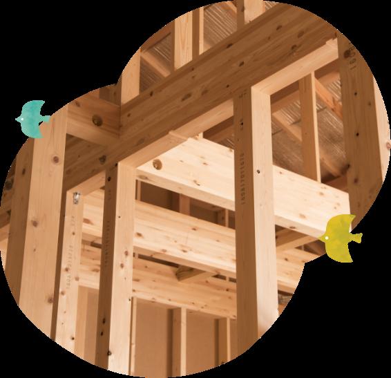 写真:木造の家の制作途中